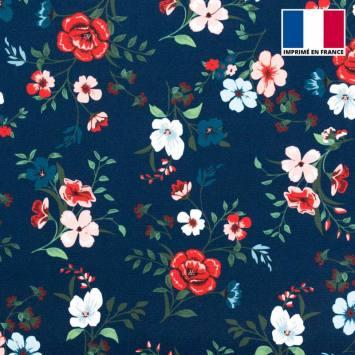 Satin bleu marine imprimé fleurs des champs blanches, rose et rouges
