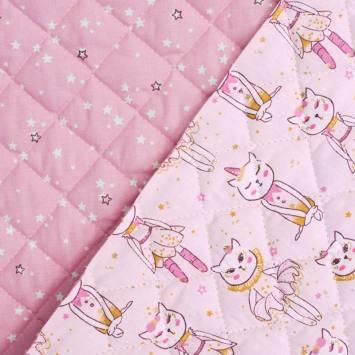 Tissu matelassé enfant réversible motif danseuse chat