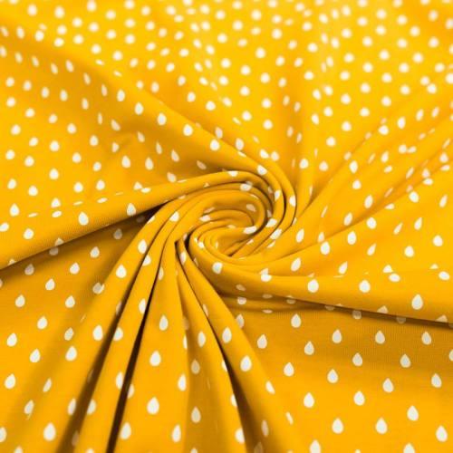 Jersey jaune ocre motif goutte blanche