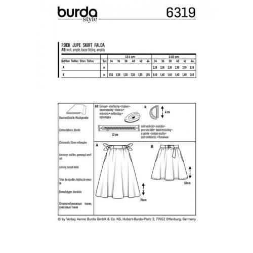 Patron Burda 6319 : Jupe Taille 34-44