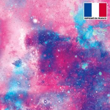 Lycra imprimé galaxie rose et bleu