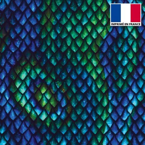 Lycra imprimé écailles bleues et vertes