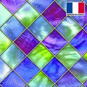 Lycra imprimé vitrail losange bleu vert et violet