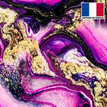 Lycra imprimé magma noir et rose poudre d'or