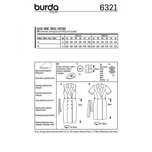 Patron Burda 6321 : Robe Taille : 34-44