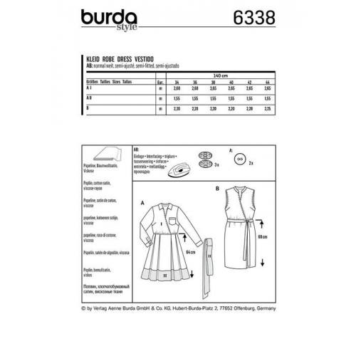 Patron Burda 6338 : Robe Taille : 34-44