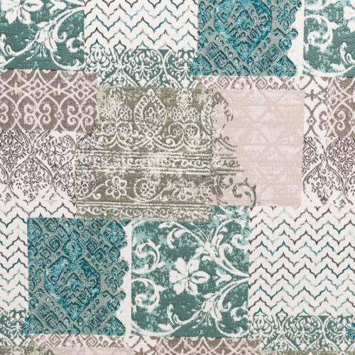 Jacquard blanc cassé motif arabesques décoratives grises et vertes