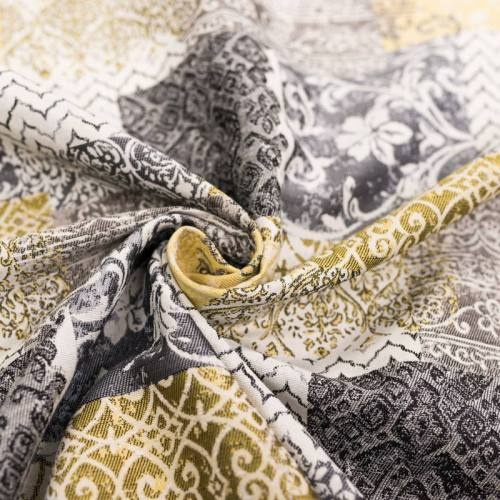 Jacquard blanc cassé motif arabesques décoratives grises et jaunes