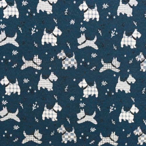 Jacquard bleu motif chien anglais blanc