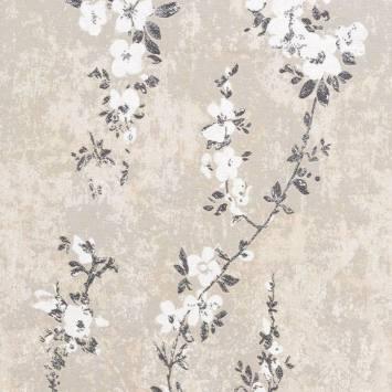 Jacquard beige motif fleurs de pommier blanches