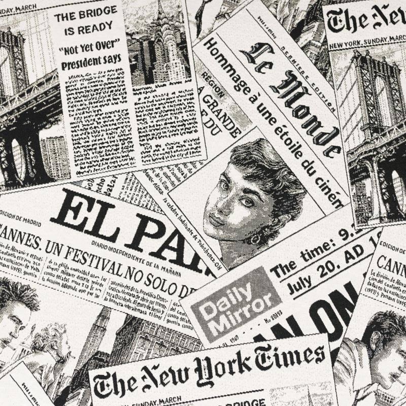 Jacquard blanc cassé motif journaux noirs