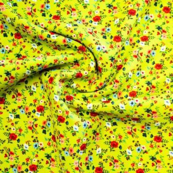 Tissu scuba vert fluo imprimé petite fleur
