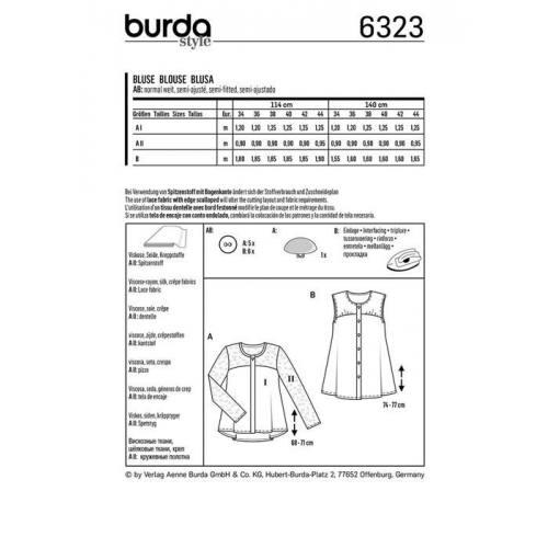 Patron Burda 6323 : Haut Taille : 34-44