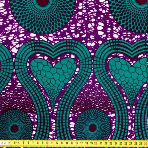 Wax - Tissu africain violet motif coeur vert émeraude 325