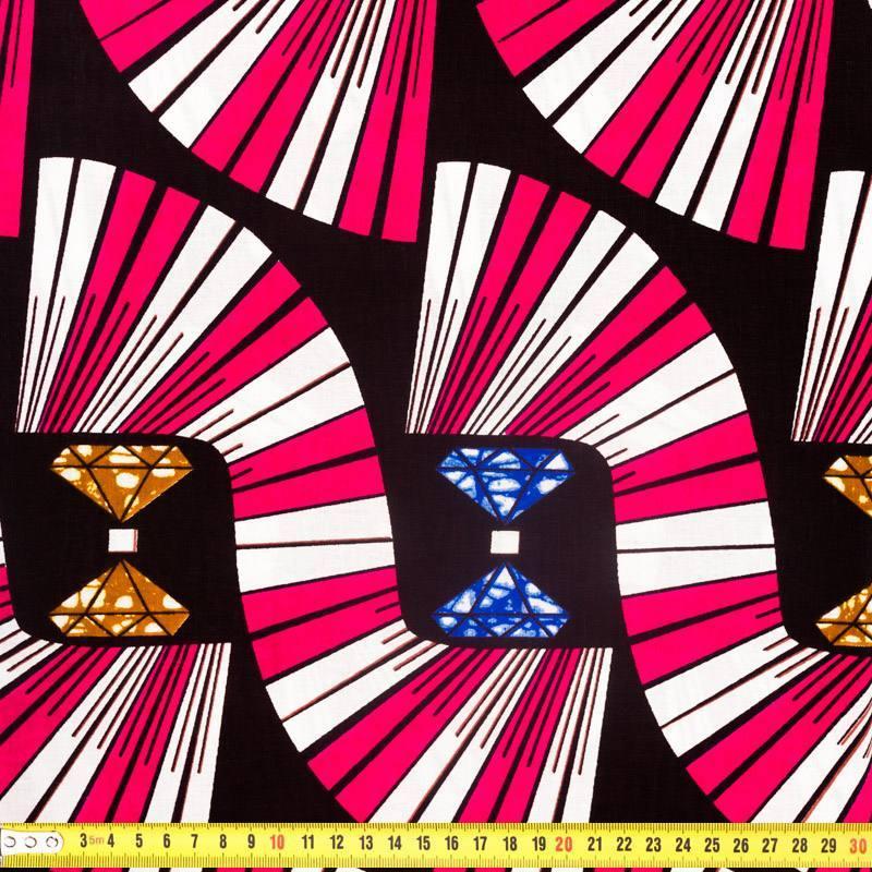 Wax - Tissu africain fuchsia motif diamant 324