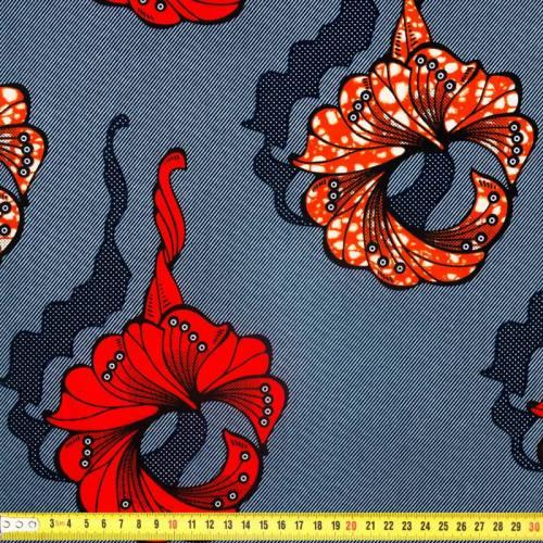 Wax - Tissu africain bleu marine motif orange et rouge 316