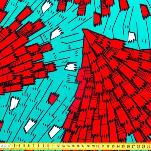 Wax - Tissu africain bleu et rouge 284