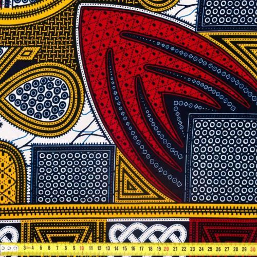 Wax - Tissu africain bleu marine, bordeaux et jaune safran 311