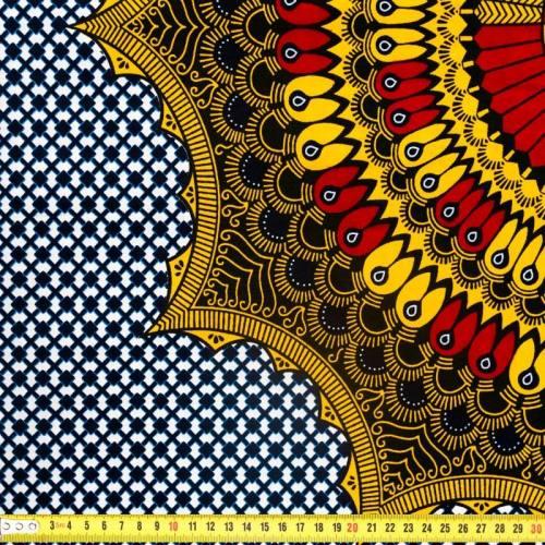 Wax - Tissu africain bleu marine motif jaune safran et rouge 319