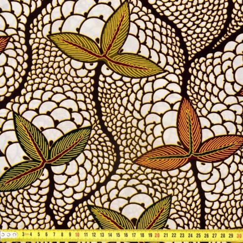 Wax - Tissu africain écru et marron motif feuille 318