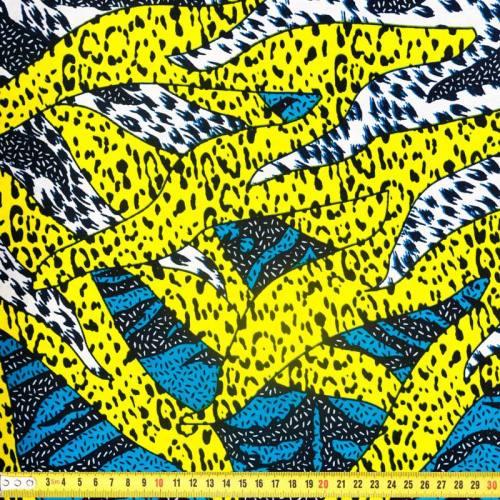 Wax - Tissu africain bleu, jaune et blanc motif léopard 317