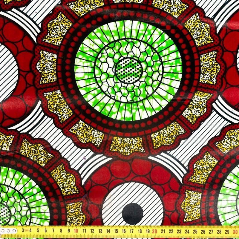 Wax - Tissu africain vert et rouge 286