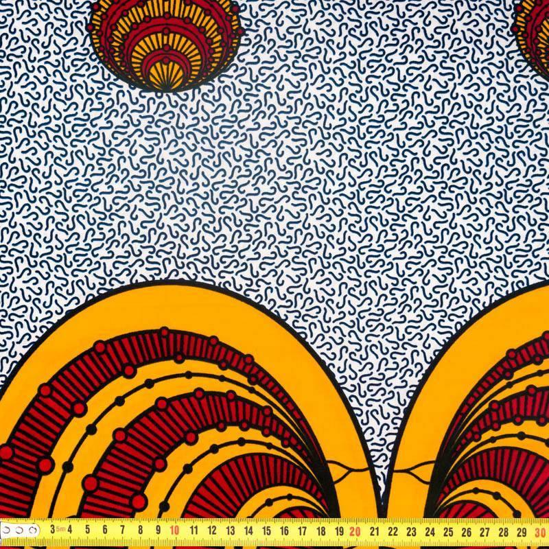 Wax - Tissu africain motif orange et bordeaux 306