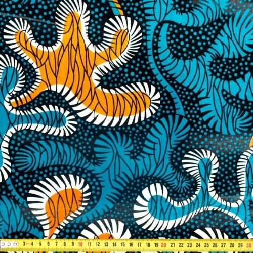 Wax - Tissu africain bleu et orange 288