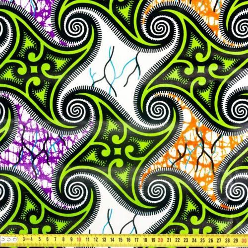 Wax - Tissu africain vert et blanc 289