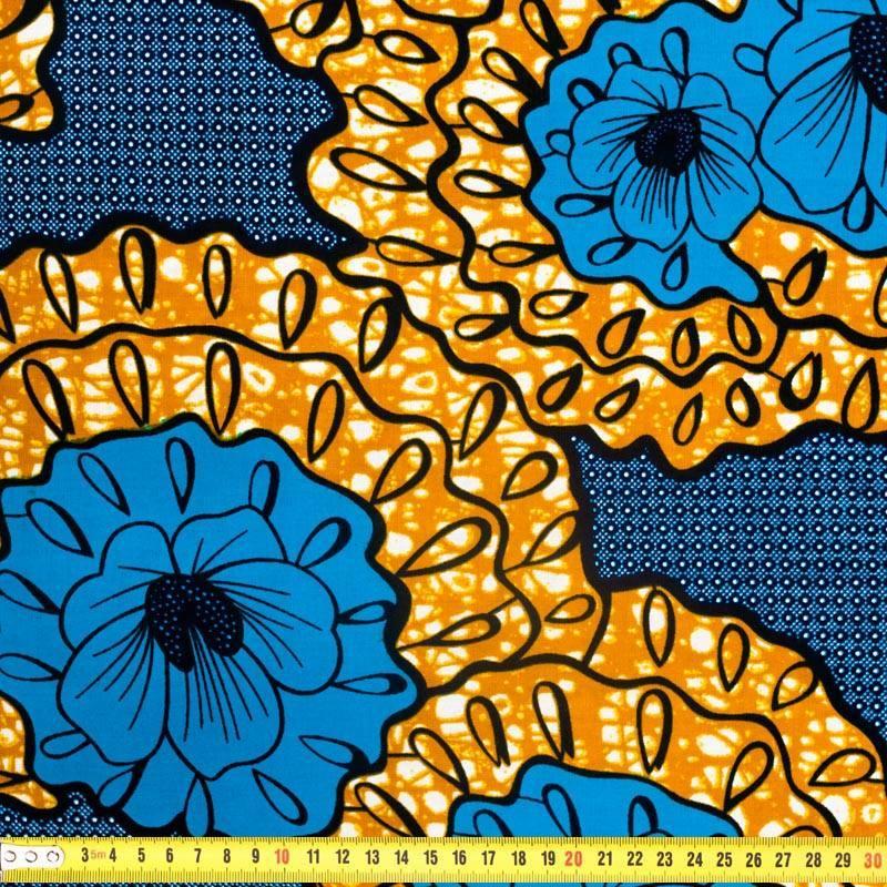 Wax - Tissu africain bleu marine, bleu et noisette 320