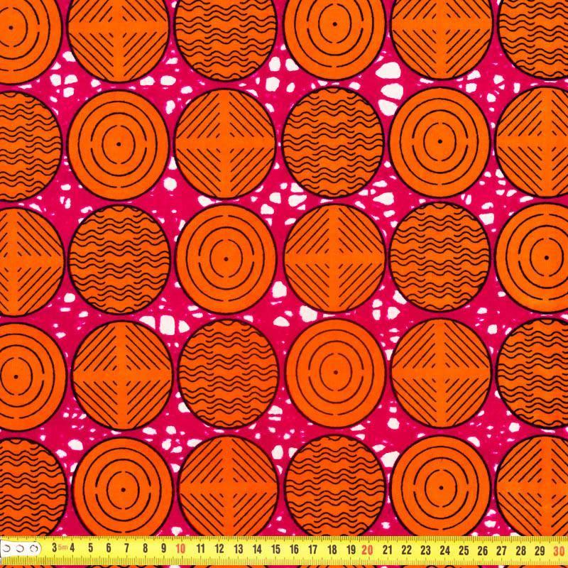 Wax - Tissu africain fuchsia motif rond orange 304