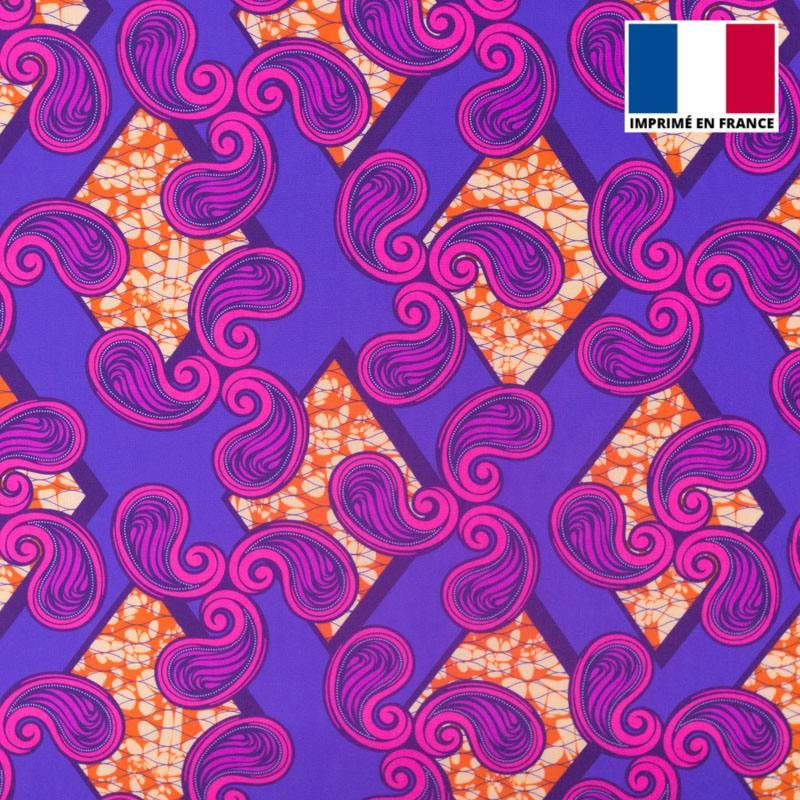 Lycra violet imprimé wax rose