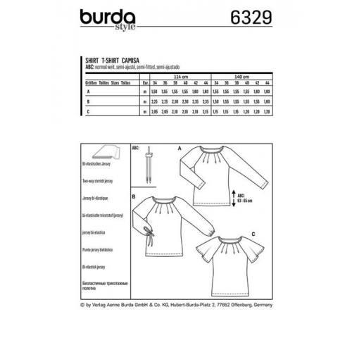 Patron Burda 6329 : T-shirt Taille : 34-44