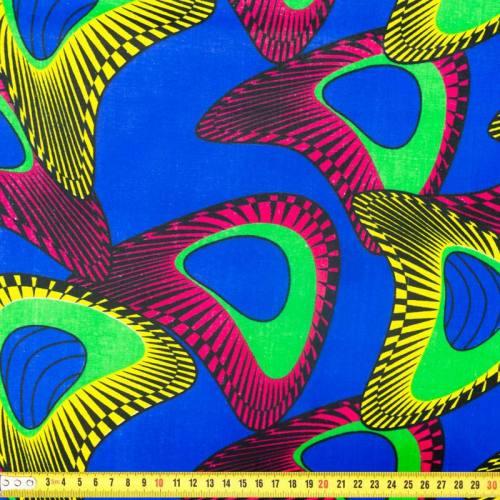 Wax - Tissu africain bleu et fuchsia 293