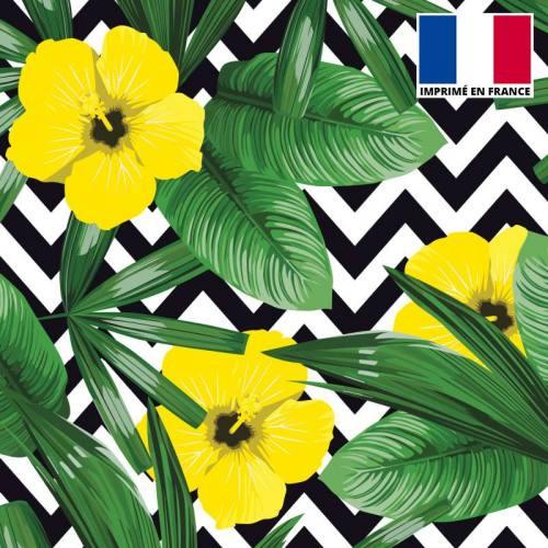 Velours ras imprimé chevron et fleur jaune
