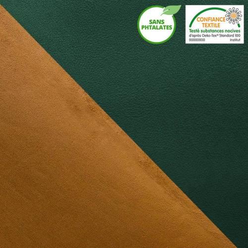 Simili cuir vert sapin envers suédine réversible