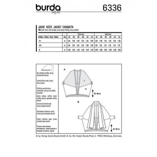 Patron Burda 6336 : Veste Taille : 34-44