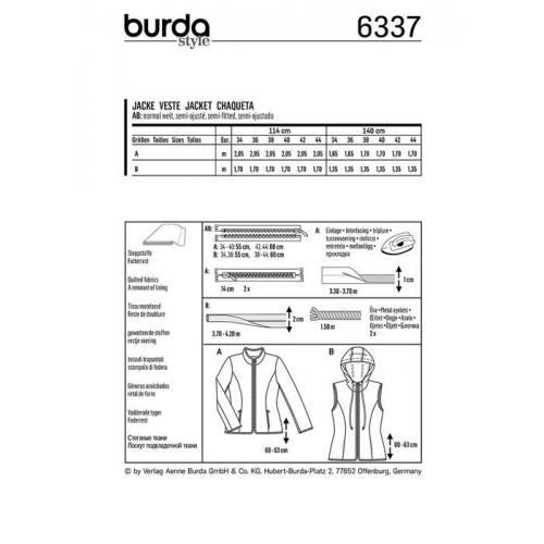 Patron Burda 6337 : Veste Taille : 34-44