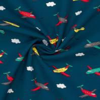 Popeline de coton bleu marine imprimée avions