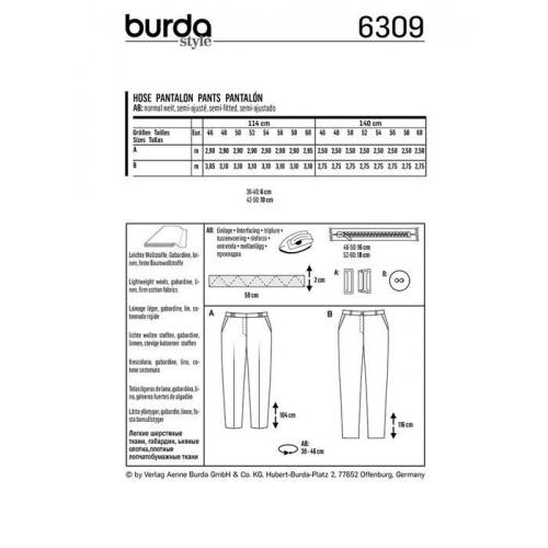 Patron Burda 6309 : Pantalon Taille : 46-60