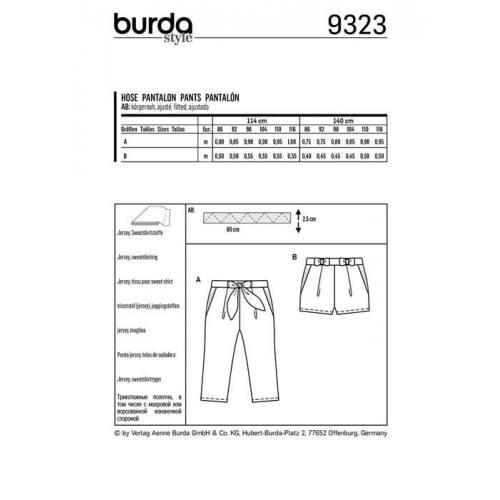 Patron Burda 9323 : Pantalon Taille : 86-116 cm