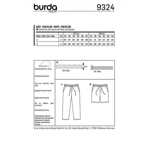 Patron Burda 9324 : Pantalon Taille : 134-164 cm