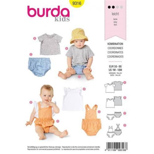 Patron Burda 9316 : Coordonnés Taille 56-86