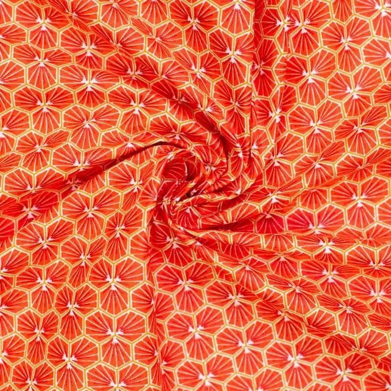 Coton enduit rouge corail motif trèfle riad