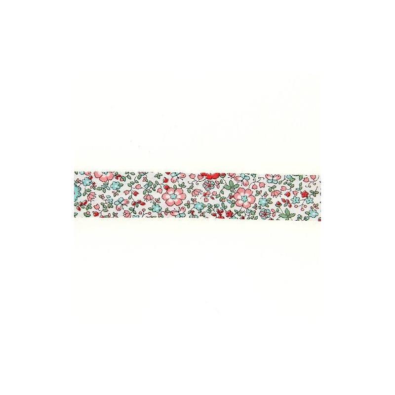 Biais replié à fleurs corail et turquoise 20mm