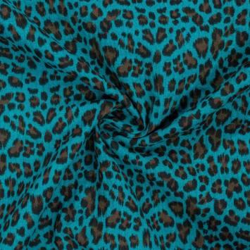 Double gaze bleu canard imprimée léopard