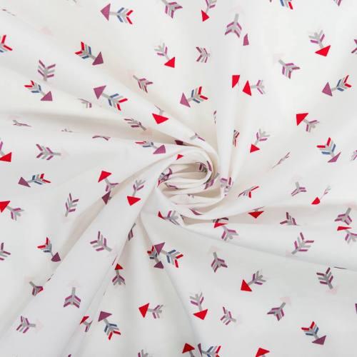 coupon - Coupon 45cm - Popeline de coton blanche motif flèche multicolore