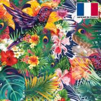 Velours ras imprimé fleur tropicale et colibri