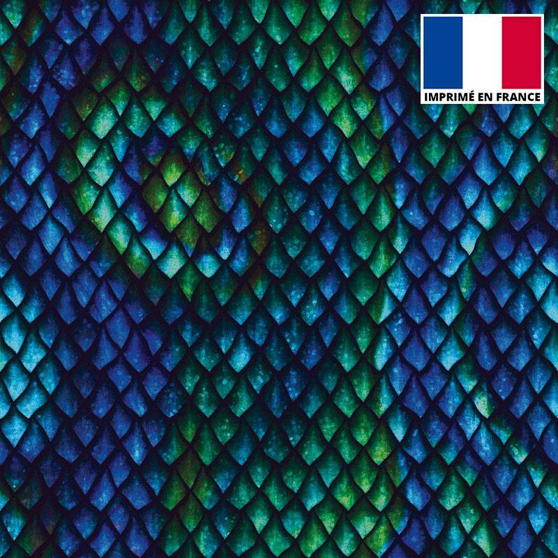 Tissu scuba imprimé écailles bleues et vertes