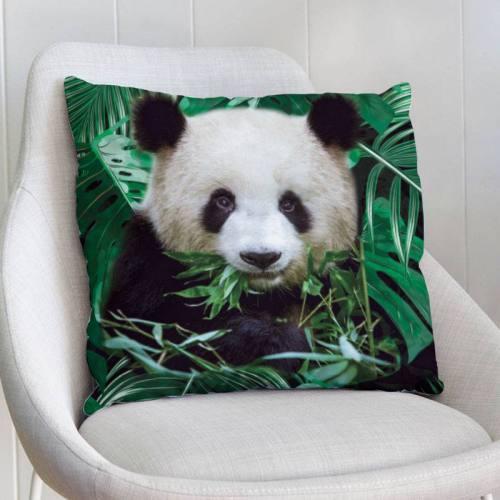 Coupon de velours ras imprimé panda jungle 44x44cm